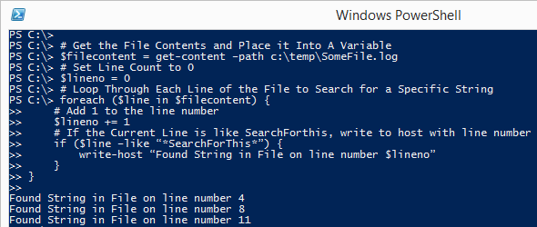 PowerShell Searching String Example